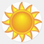decorative sun. round sticker