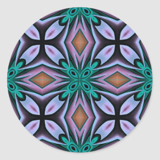 Decorative Teal and Purple Floral Pattern Round Sticker