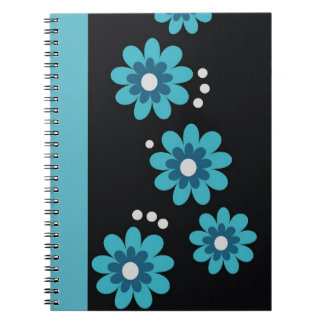 Decorative Teal Floral Pattern Spiral Bound Note Books