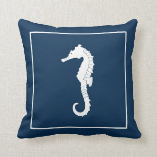 Decorative throw pillow with seahorse.