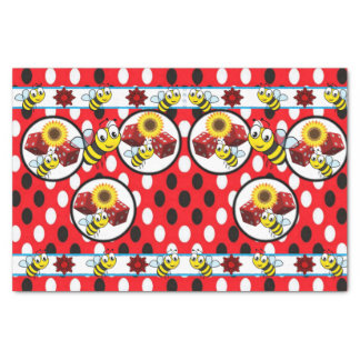 Decorative tissue paper bumblebee red dice