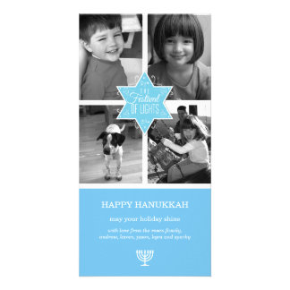 Decorative Typography Light Blue Star Hanukkah Card