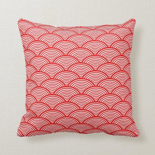 Decorative Vintage Japaneses Pattern Red Cushion