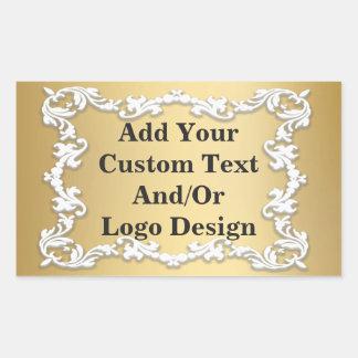 Decorative Vintage White Border Gold Seal Sticker