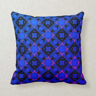 Decorative vivid blue kaleidoscope cushion
