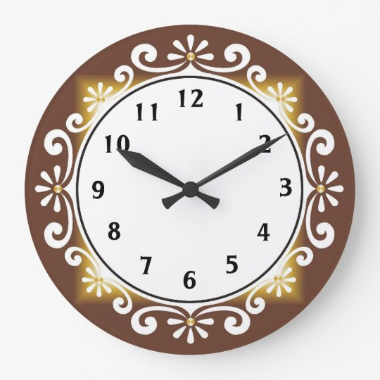 Decorative Wall Clock::Brown Frame Large Clock