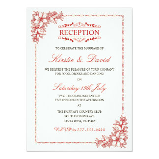 Decorative Wedding Reception Invitation
