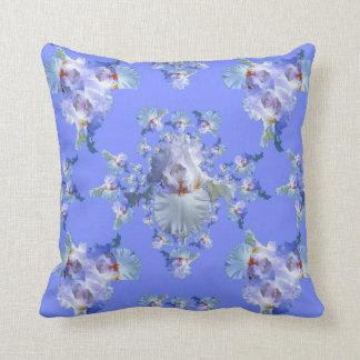 DECORATIVE  WHITE & BLUE IRIS ART CUSHION