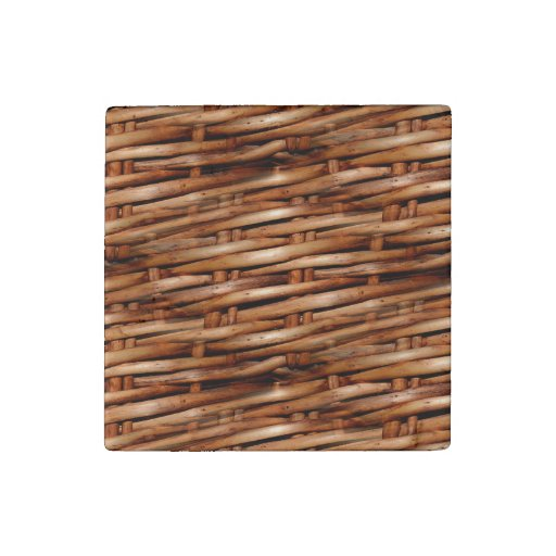 Decorative Wicker Basket Look Stone Magnet