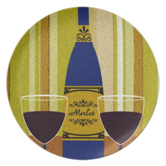 Decorative Wine Bottle And Wine Glasses Plate