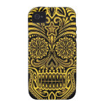 Decorative Yellow and Black Sugar Skull iPhone 4/4S Covers