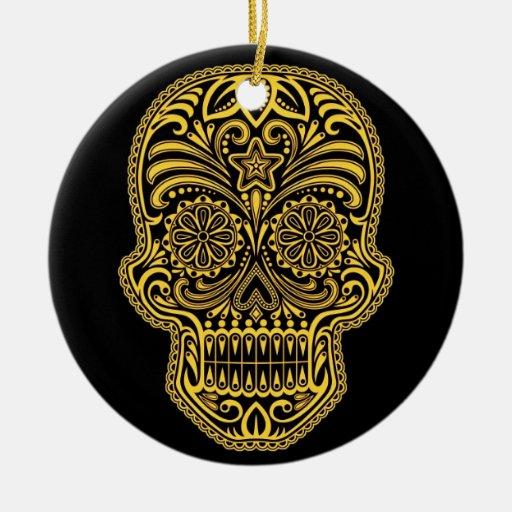 Decorative Yellow and Black Sugar Skull Christmas Ornaments