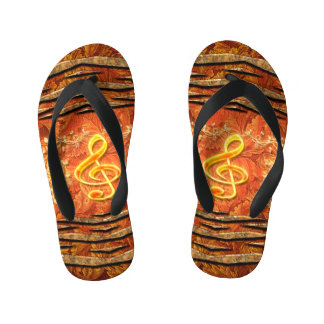 Decorative yellow clef with roses flip flops