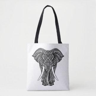 Decorative Zendoodle Elephant Illustration 2 Tote Bag