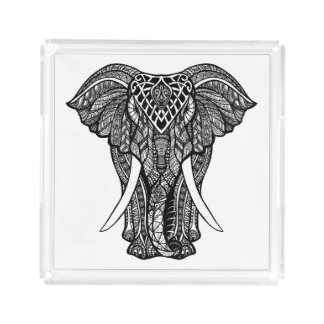 Decorative Zendoodle Elephant Illustration Acrylic Tray