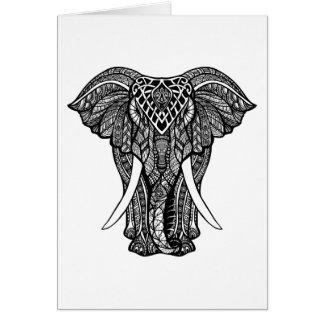 Decorative Zendoodle Elephant Illustration Card