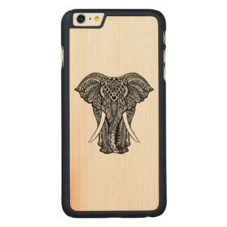 Decorative Zendoodle Elephant Illustration Carved Maple iPhone 6 Plus Case