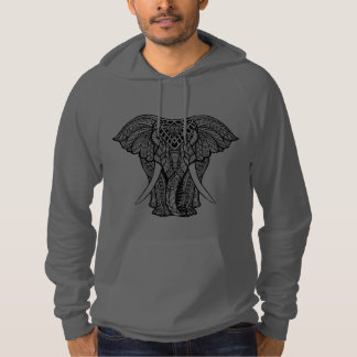 Decorative Zendoodle Elephant Illustration Hoodie