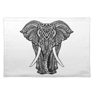 Decorative Zendoodle Elephant Illustration Placemat