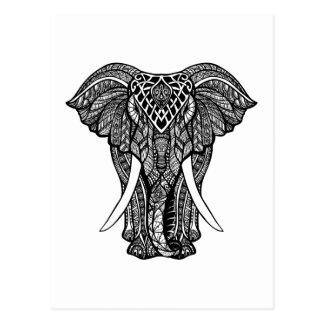 Decorative Zendoodle Elephant Illustration Postcard