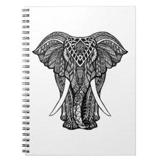 Decorative Zendoodle Elephant Illustration Spiral Notebooks