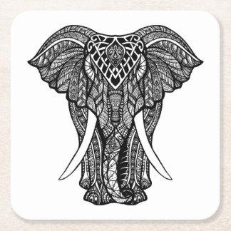 Decorative Zendoodle Elephant Illustration Square Paper Coaster
