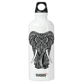 Decorative Zendoodle Elephant Illustration Water Bottle