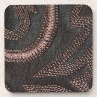 Decoratively Sewn Brown Vintage Leather Beverage Coaster