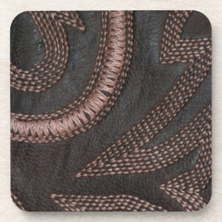 Decoratively Sewn Brown Vintage Leather Drink Coaster