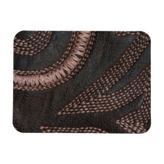 Decoratively Sewn Brown Vintage Leather Rectangular Photo Magnet