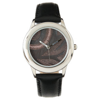 Decoratively Sewn Brown Vintage Leather Watches
