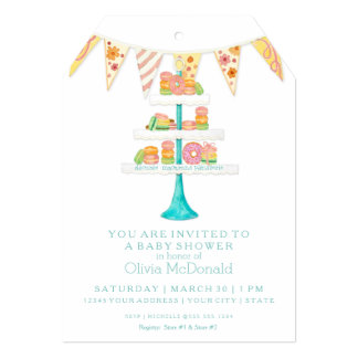 Décorée Macarons Pâtisserie Bunting Baby Shower 5x7 Paper Invitation Card