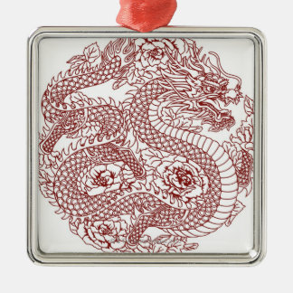 Decoupage of a Chinese dragon Silver-Colored Square Decoration