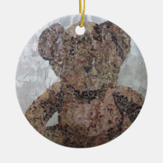 Decoupage Ted Round Ceramic Decoration