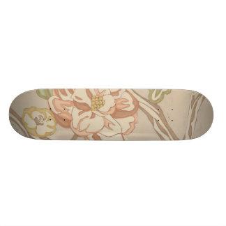 Decrative Organza Chintz Floral Design Skate Board