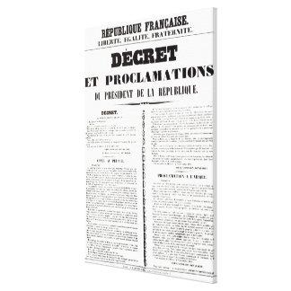 Decree & Proclamation by Napoleon Bonaparte Canvas Print