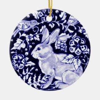 Dedham Blue Rabbit, Classic Blue & White Design Christmas Ornament