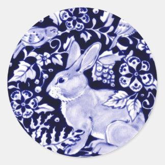Dedham Blue Rabbit, Classic Blue & White Design Classic Round Sticker