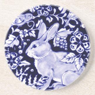 Dedham Blue Rabbit, Classic Blue & White Design Coaster