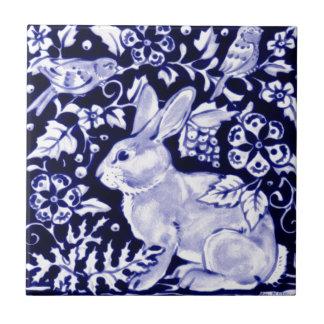 Dedham Blue Rabbit, Classic Blue & White Design Small Square Tile
