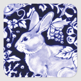 Dedham Blue Rabbit, Classic Blue & White Design Square Sticker