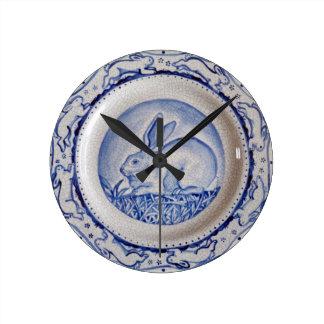 """Dedham Blue"" Rabbit Design Clock, Blue & White"