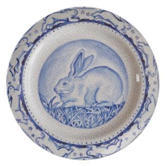 """Dedham Blue"" Rabbit Design Plate, Blue & White Plate"