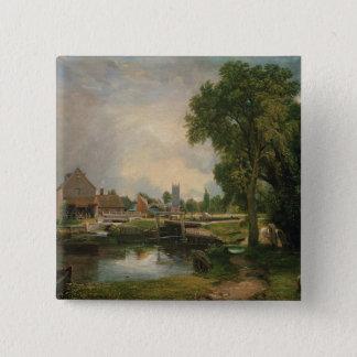 Dedham Lock and Mill, 1820 15 Cm Square Badge
