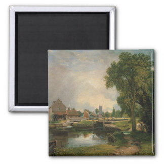 Dedham Lock and Mill, 1820 Square Magnet