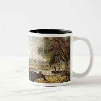 Dedham Lock, c.1820 (oil on canvas laid down on pa Two-Tone Coffee Mug