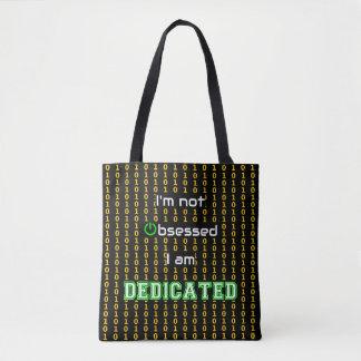Dedicated binary code print geek tote bag