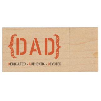 Dedicated DAD Orange and Black Thumb Drive Wood USB 3.0 Flash Drive
