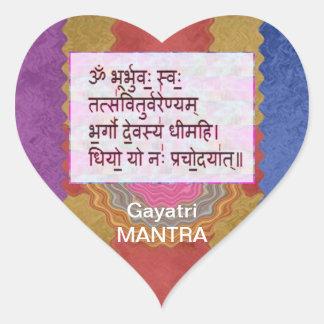 Dedication to GAYATRI Mantra - Artistic Background Heart Sticker