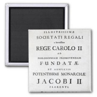 Dedication to the Royal Society Magnet
